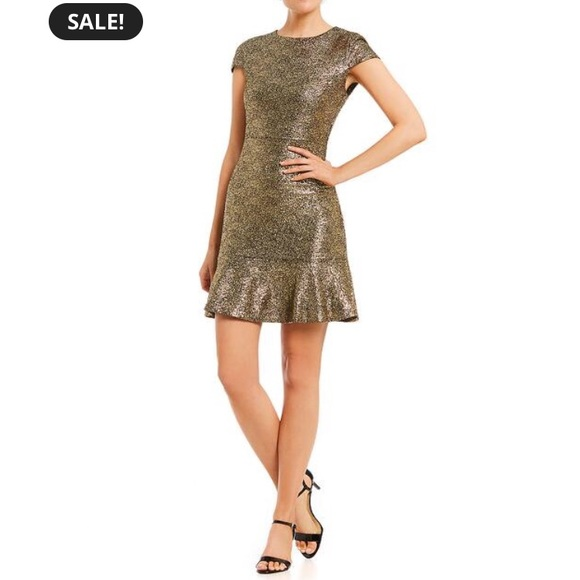 15188b5f8a4b MichaelKors Supernova Foil-print flounce hem dress